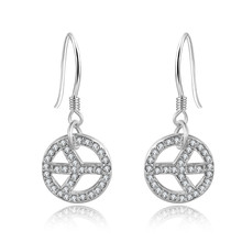 Handmade Circle Post Earrings, Fashion 925 sterling silver plated zirconia Crystal diamond Airplane Peace Sign Earrings