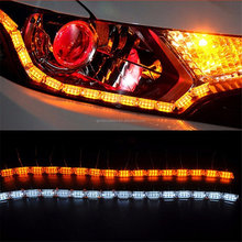 LED Daytime Running Light Flowing Turn Signal Light Car LED Strip Lights Headlight LED White/Amber DRL Strip