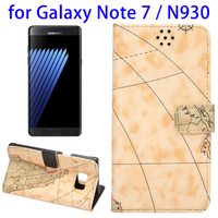 Amazon Top Selling Map Texture Magnetic Adsorption Horizontal Flip Leather Case for Samsung Galaxy Note 7 with Card Slot