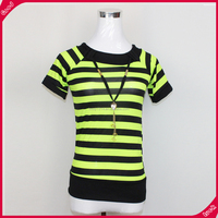 Wholesale combed cotton fashion custom striped women t shirt