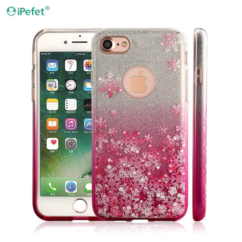 3 in 1 glitter Silicone mobile phone cover custom design case for iPhone