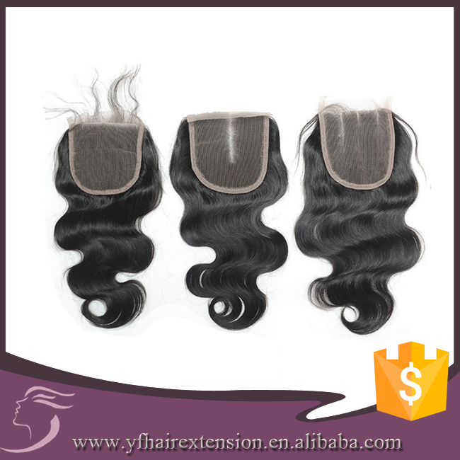 Hot Sale High Quality Body Wave Free/ One/ Two/ Tree Part Ways Peruvian Bohemian Hair Lace Closure