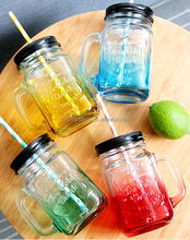 high quality colorful glass mason jar with handles wholesale mason jar with straw