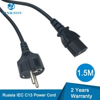 German AC Power Cord 1.5M H03VV-F IEC C13 Schuko Euro Power Cord Schuko Plug Russie AC Mains Power Cable