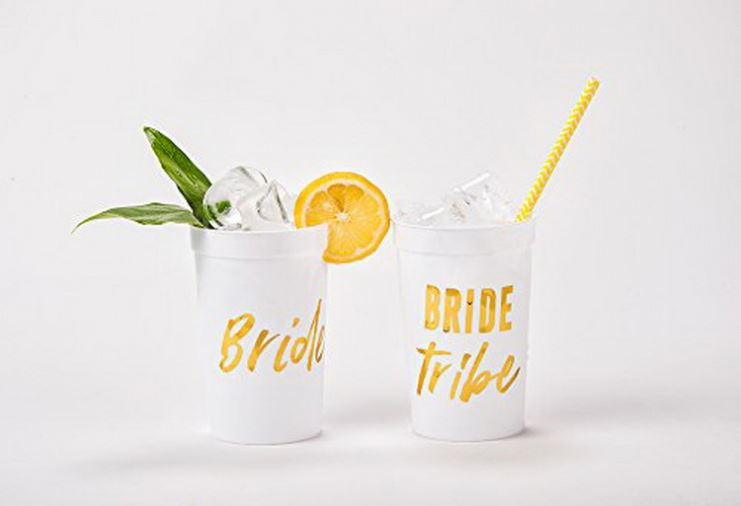 (12 pack) Wild Bride and Bride Tribe - White and Gold Cups for a Bachelorette Party