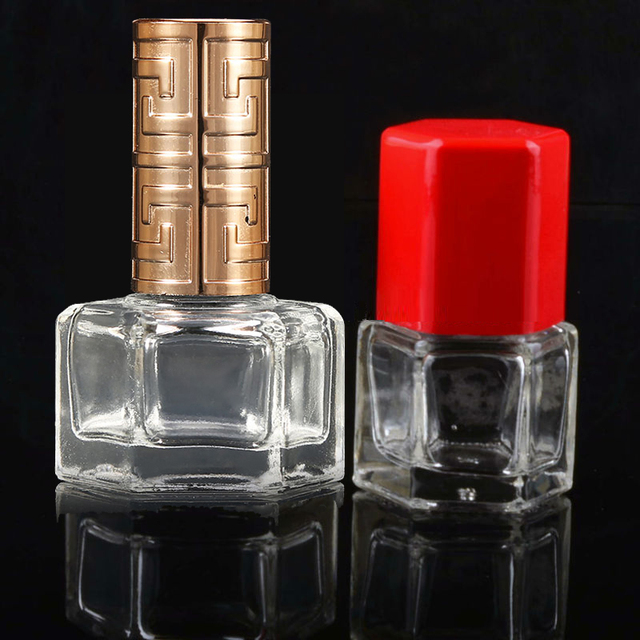 wholesale 12Ml 6Ml Hexagonal Star Glass Nail Polish Bottle With Cap And Brush