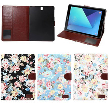 Flower Pattern floding leather case cover for samsung galaxy Tab S3 9.7 T820