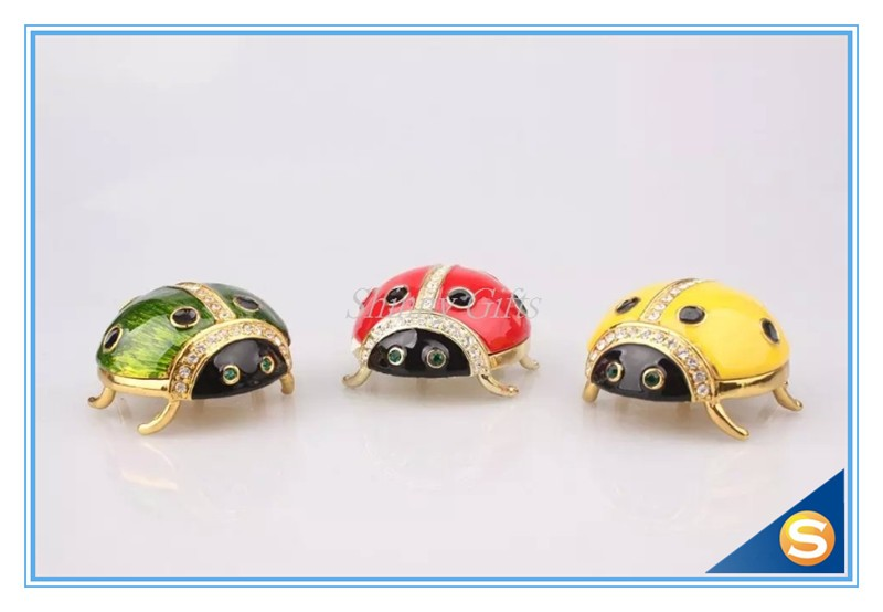 Cute Ladybugs Animal Trinket Box Enamel Trinket Box Pewter Jewelry Box