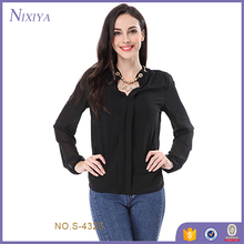 Casual Blouse Women, Long Sleeve Fat Women Chiffon Blouse Designs