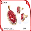 bisuteria china al por mayor gold red diamond pendant jewelry set
