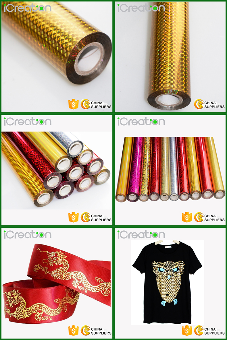 Laser Holopgraphic Grid Golden Hot Stamping Foil Roll (Aluminum) Based on PET for Textile/Clothing/T-Shirt/Fabrics for Wholesale