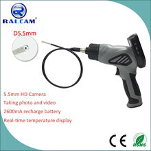 D5.5mm camera 1m cable video inspection borescope snakescope handheld endoscope with rechargeable battery