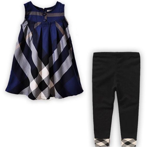 Name brand kids clothes summer casual girls clothing plaid children clothing set england style girl dress + fashion leggings