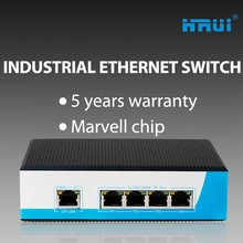 OEM Factory Din-rail 4 Port 5 Port Gigabit Industrial Ethernet Switch Each Port 15.4W 25.4W 30W