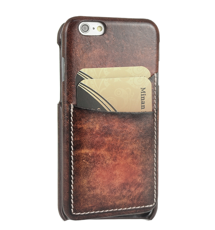 Vintage vegetable tanned leather phone case phone back cover with one card holder for iphone6,for iphone6 plus