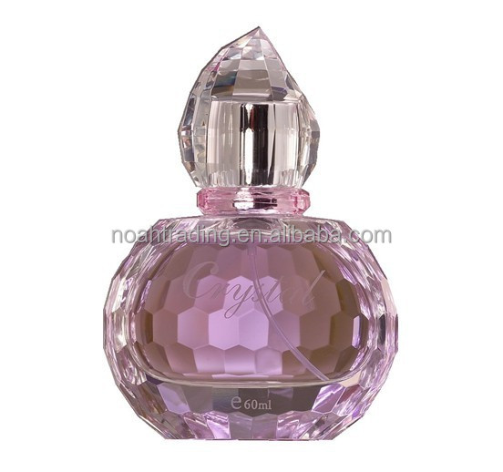 Guangzhou pink 50ml empty crystal perfume bottles with cap, perfume glass bottle 50ml, glass perfume refillable bottle