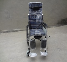 Cheap hot sale aluminium alloy disabled chair folding reclining manual wheelchair with bedpan wholesale