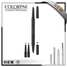 Useful double ended automatic eyebrow pencil with eyeliner built- in steel ball empty tube
