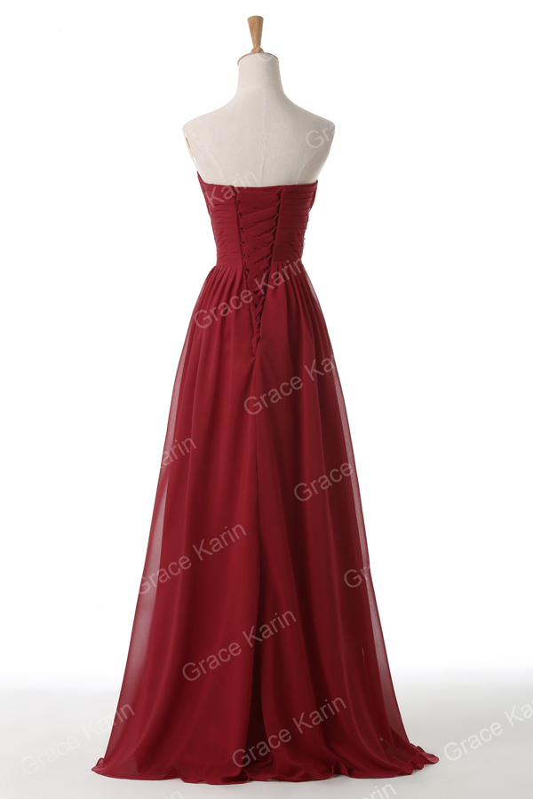Grace Karin Strapless Sweetheart Chiffon Long Wine Red Evening Dresses CL6107-4#