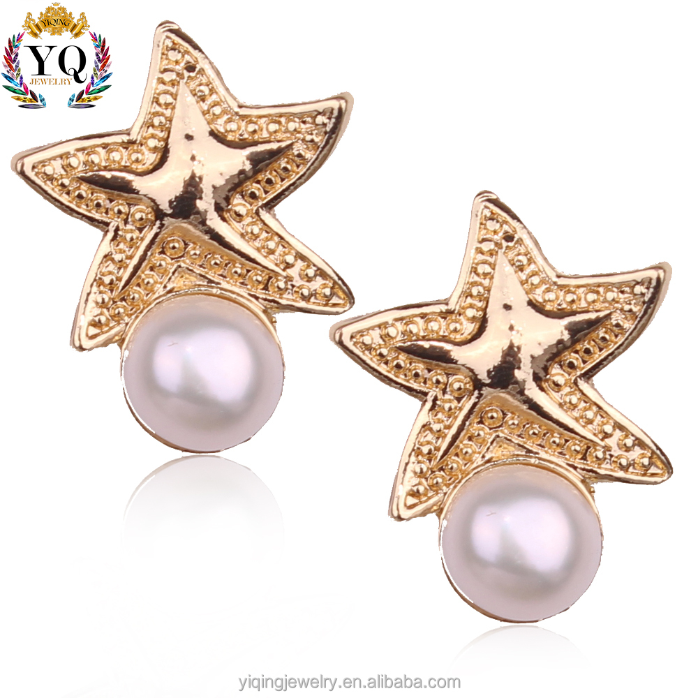 EYQ-00262 Latest Arrival trendy style elegant star pearl hanging stud earrings