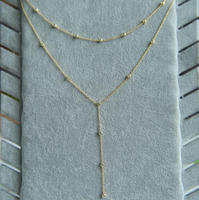 Gold Plated 925 Sterling Silver Cubic Zirconia CZ Diamond Double Layer Long Chain Drop Y Necklace