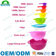 8pcs Plastic Mixing Bowl Plastic Kitchenware Set with Measuring Spoon for Cooking