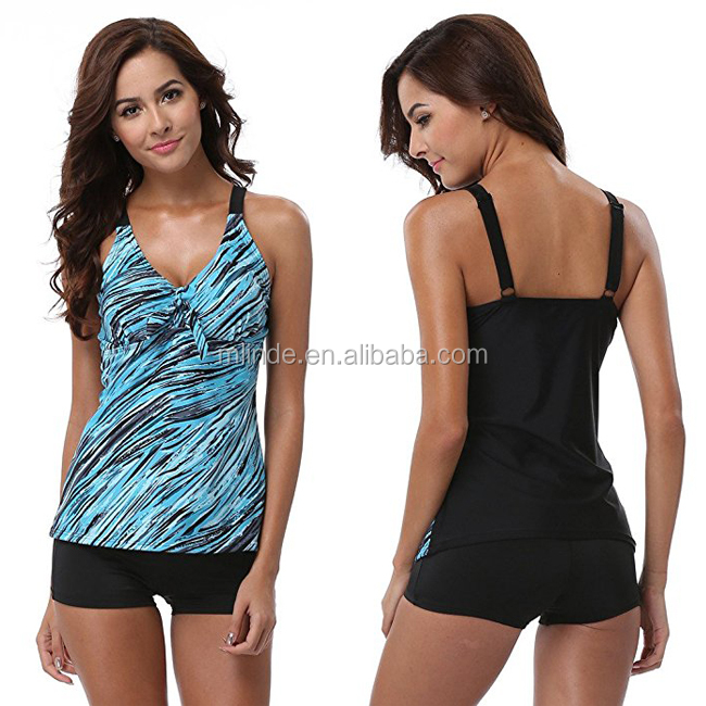 Swimwear Hot Sexy Ladies Photos Wholesale Nylon Spandex Retro Printed Relax-Fit Sweetheart Neckline Solid Color Swimwear Woman