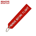 Hot selling Remove Before Flight keyChains Jewelry OEM Key Chains Red Embroidery Highlight Aviation Gifts