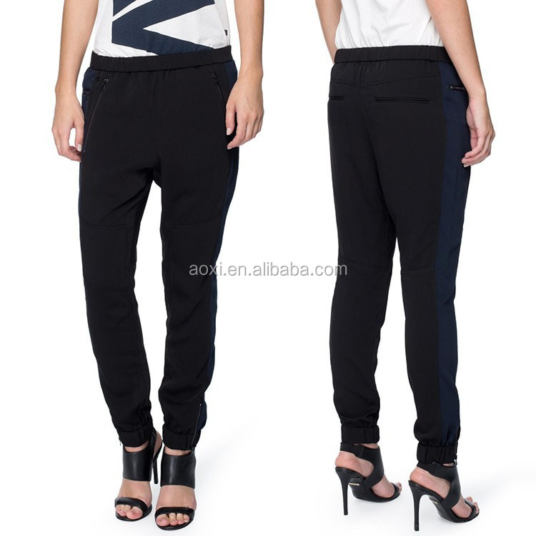 Oem clothing fashion relaxed fit style trousers fancy women tapered pants