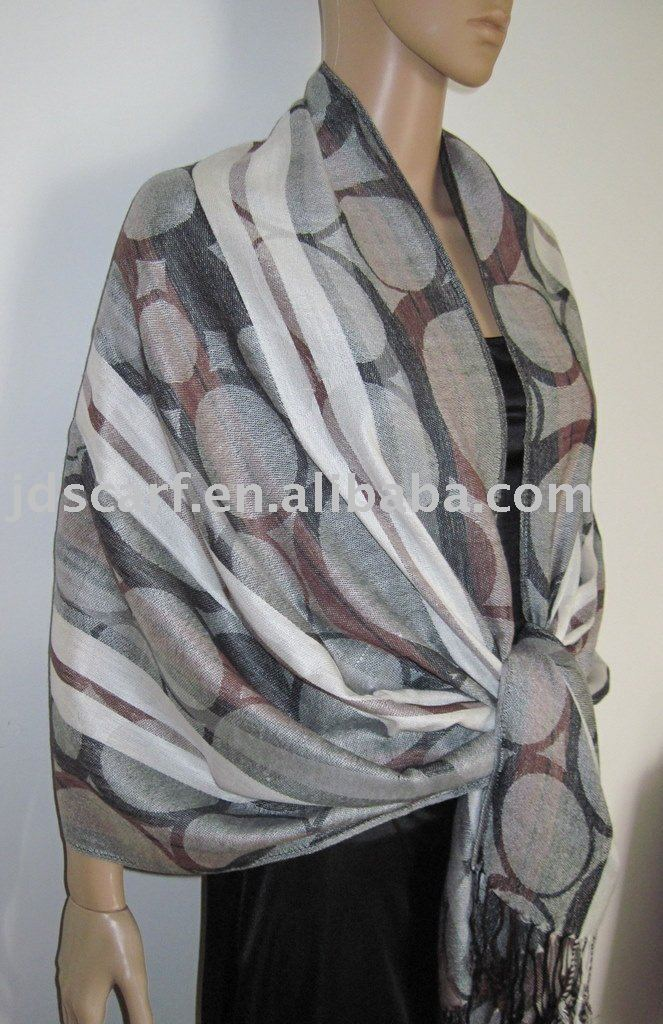 mir cashmere scarf JDC-062_12#: viscose shawl with circle and stripe pattern