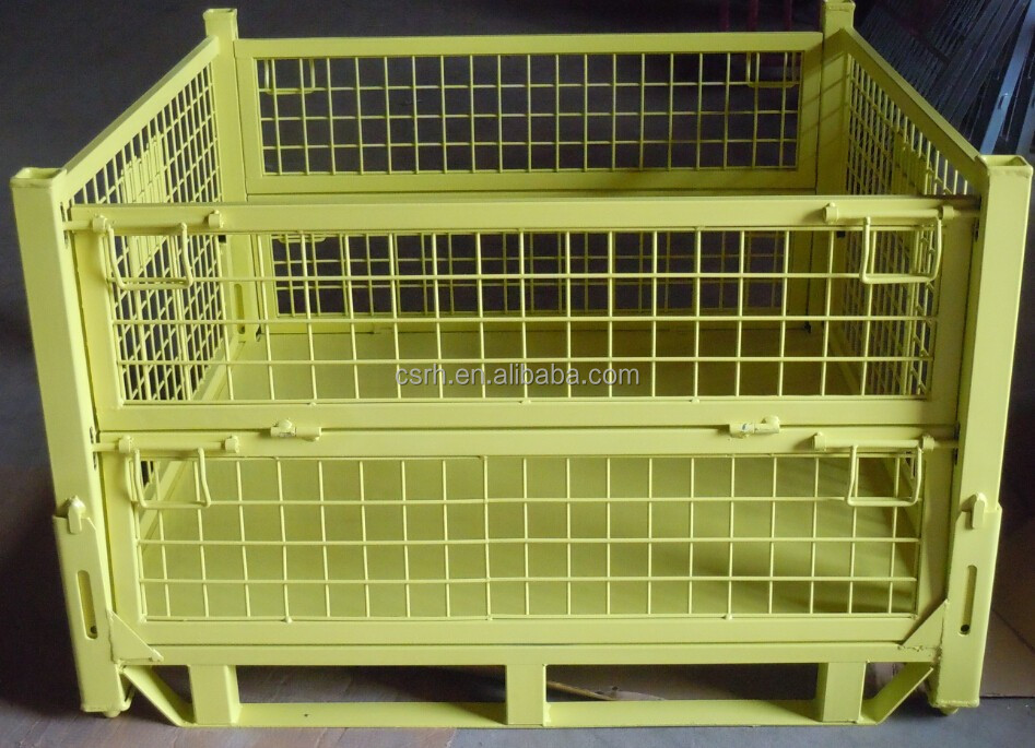 RH-C03 steel crate 1140*1130*730mm yellow foldable stoarge cage insert feet steel container wire cages