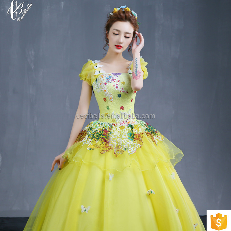 Cinderella Royal Yellow Special Occasion Party Gowns Princess Style Real Simple Ball Gown Wedding Dress