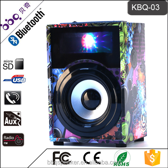 BBQ KBQ-03 Bluetooth 3 inch mini audio Wooden Small portable speaker disco light USB