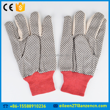 Cotton Drill Anti-slip Black With PVC Dot Canvas Coated Glove Safety Hand Gloves