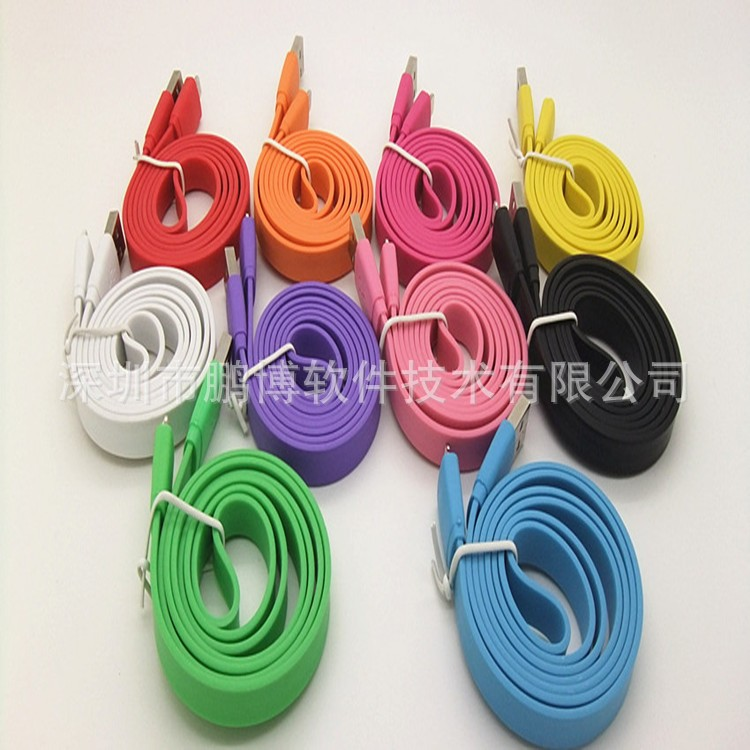 Factory price Big large Noodle flat Colorful 8 Pin USB cable charger Charging Data Sync Cables for iphone5 5s 6s plus