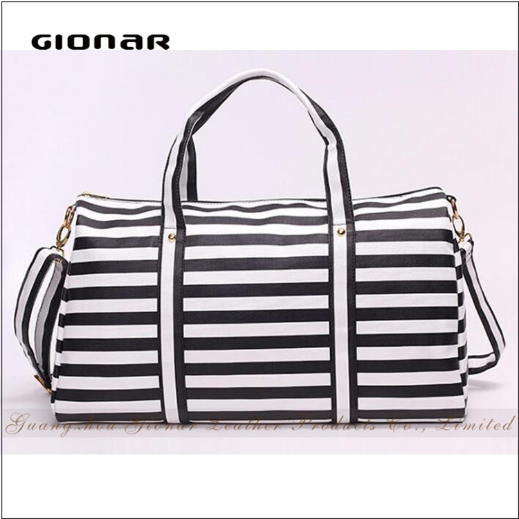Hot Sell Marine Style Travel Bag Strip PU Leather Weekender Travel Bag