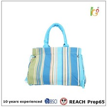 colorful stripe canvas tote bag for navy