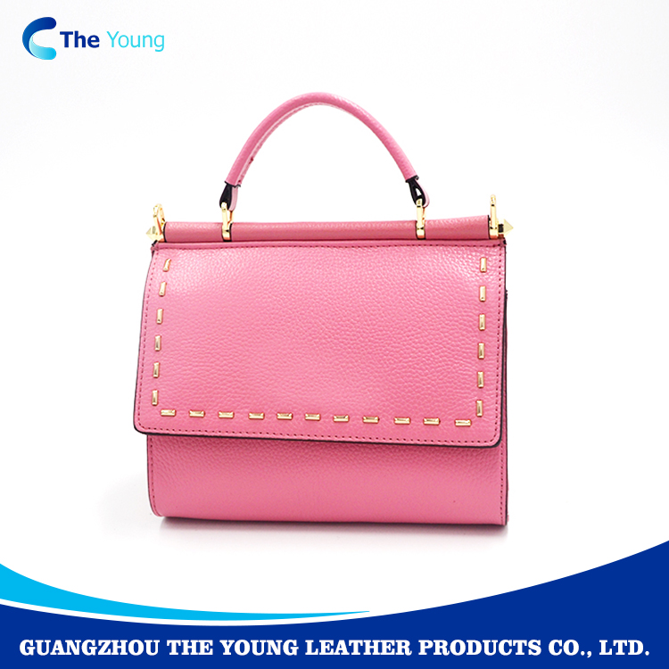 Cheap custom design fashion genuine leather lady hand bag
