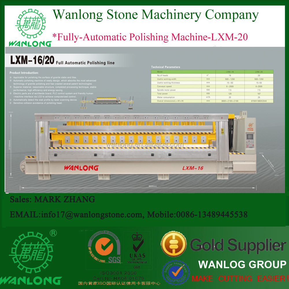 Fully automatic polishing line with 12,14,16 heads for granite, Wanlong Brand