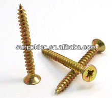 din7505 double flat countersunk head pozi/phillips galvanized case hardened fully threaded chipboard screws