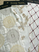 Embroidered Pattern and Linen Material Textile Chair Cover Fabric