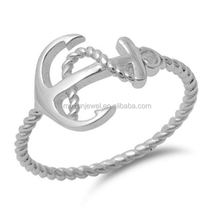 Plain Anchor Rope 925 Sterling Silver Ring