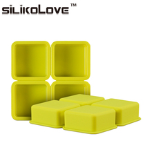 Easy To Demoulding 4 Cavity Square Silicon Handmade Soap Mold For Home