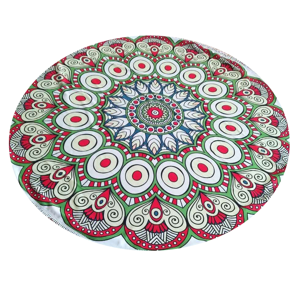 custom printed mandala microfiber round beach towel with tassels