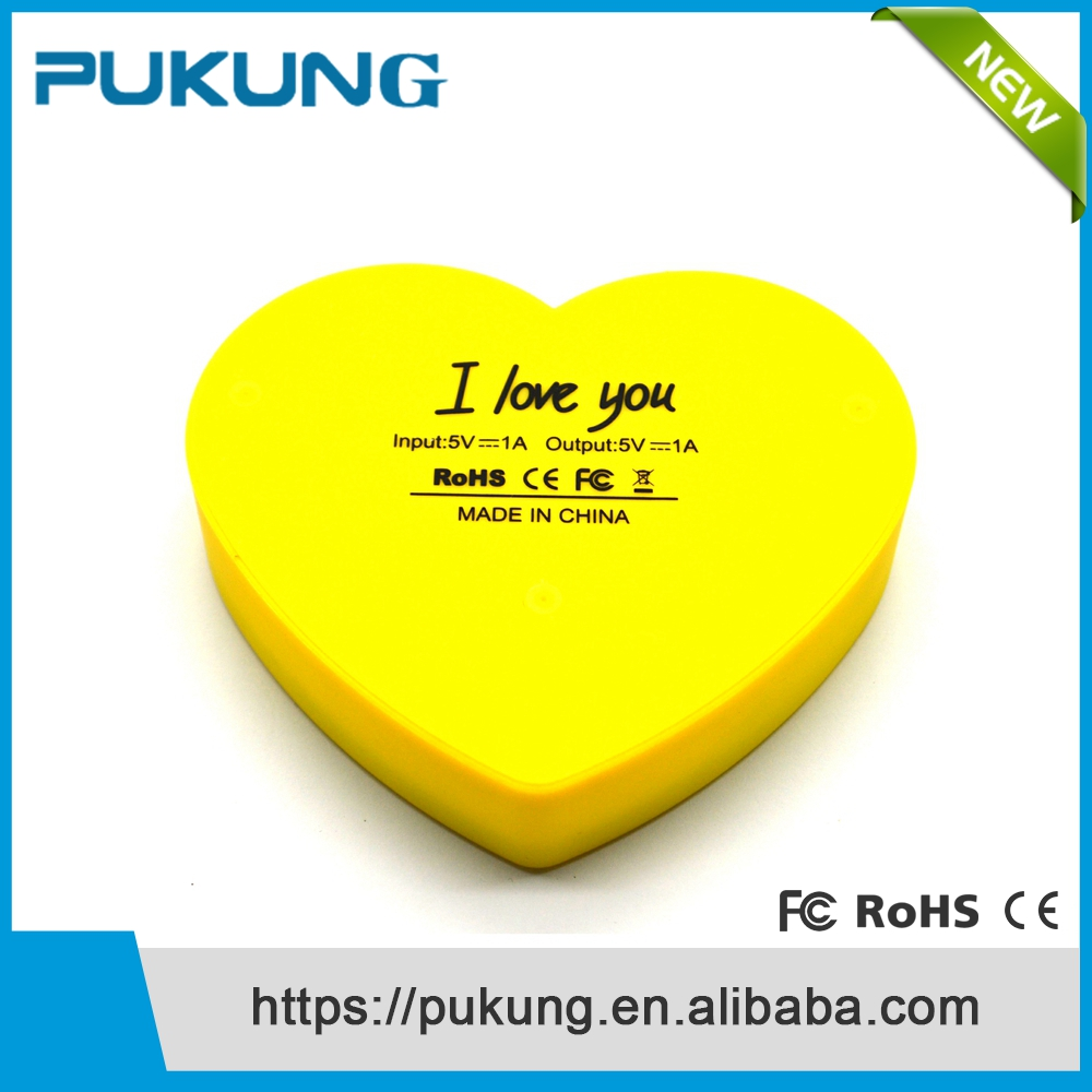 4000mAh Custom Logo Love Heart Portable LED USB Power Bank Mobile Battery Pack Charger Gift