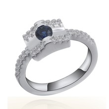 SJ RS03384 Alibaba Hot Sale China New Product Fashion Sterling Steel Blue Gemstone Wedding Ring