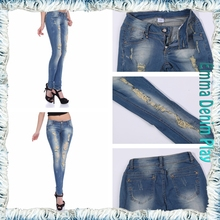 2016 Womens Copper Studs Decorated Ripped Jeans