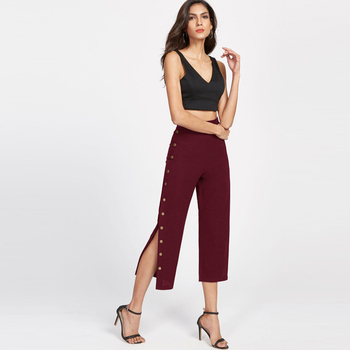 Elegant and Loose Design Lady Pants With Split
