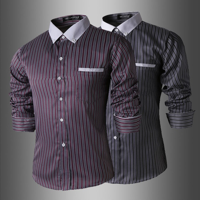 2015 Spring Hot New Mens Shirts Casual Slim Fit Striped Design Youthful Stylish Men Dress Shirts