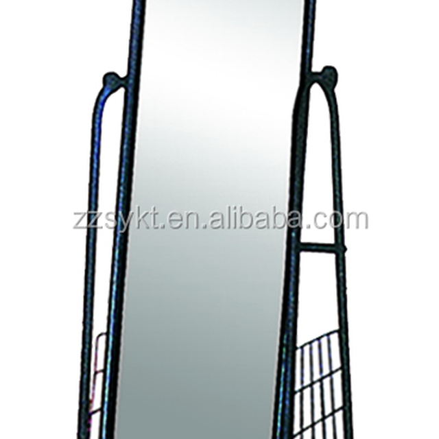 Floor standing cheval dressing vanity mirror shoe shelf with wheels wholesale